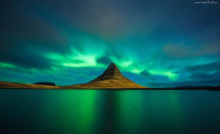 Góry, Morze, Zorza Polarna, Islandia