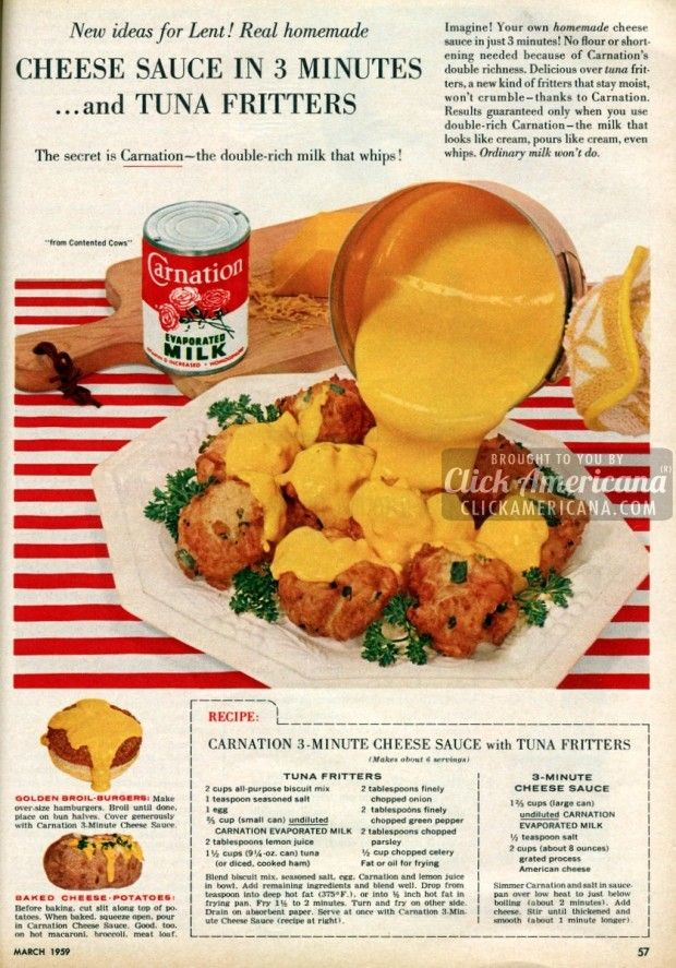 cheese-sauce-tuna-fritters-recipes-march-1959 ~ Oooh...just the cheese sauce please!