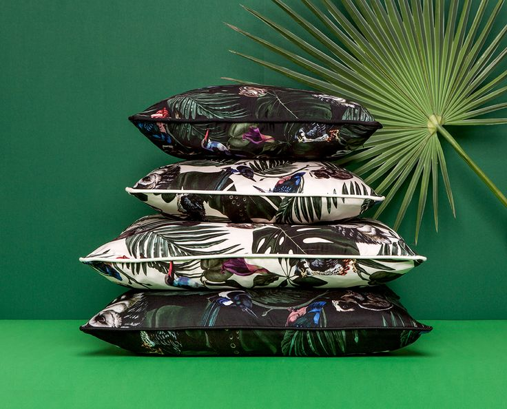 Amazonia Cushions by Witch and Watchman in Velvet and Cotton Featuring tropical palm leaves, cheese plants, fern leaves, peacocks, lemurs, owls and other birds and animals!
