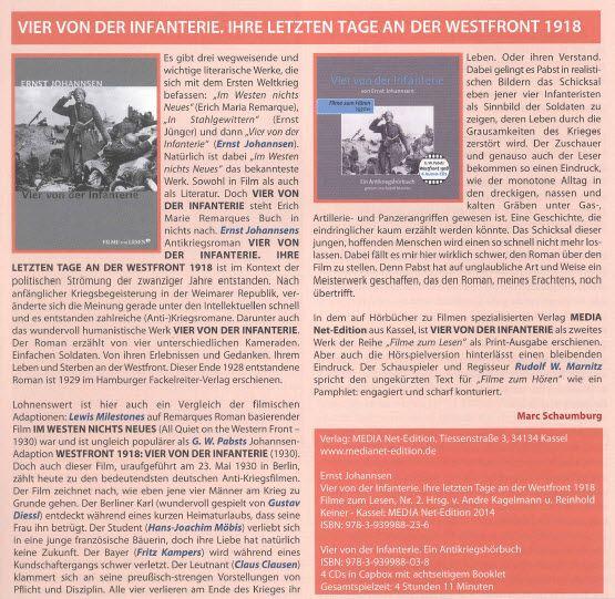 """Soeben erschienen, in der Zeitschrift """"35 mm"""", Nr. 08, 04/2015: Vorstellung Buch und Hörbuch """"Vier von der Infanterie""""!"""