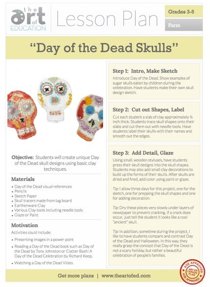 Day of the Dead: Clay Skulls. Planning for Fall. Download Free Lesson Plan