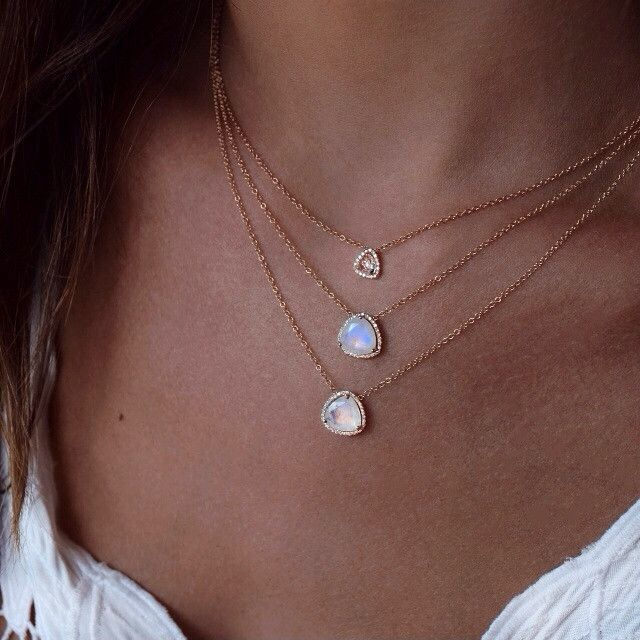 14kt rose gold moonstone and diamond petite triangle necklace – Luna Skye by Samantha Conn
