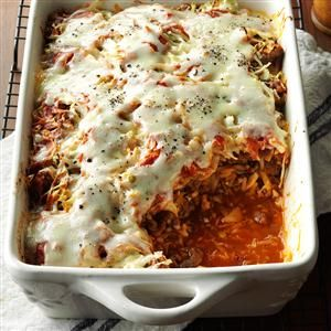 Cabbage Roll Casserole Recipe -I layer cabbage with tomato sauce and ground beef lasagna-style to create a hearty casserole that tastes like…