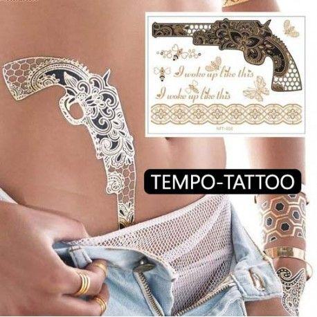 Les 25 meilleures id es de la cat gorie tatouage de revolver sur pinterest tatouage de - Tatouage ephemere dore ...