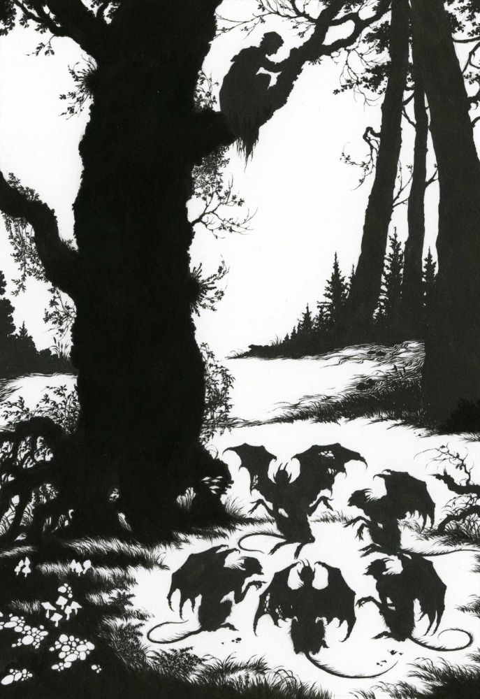 Then devils came from all directions and assembled under the oak; Right and Wrong - Myths and Legends of Russia by Aleksandr Afana'ev, 2009