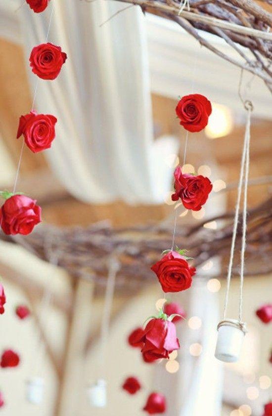 Valentine's day wedding decoration in 2014, Red wedding decor, Rose garland for Valentine's day wedding #wedding  #decoration www.loveitsomuch.com