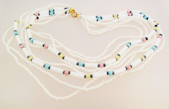 Multi Strand Milk Glass and Pastel Shades Beads Vintage Necklace