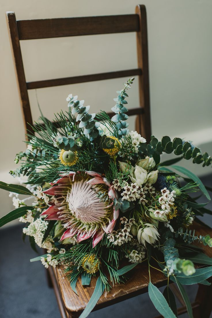 Protea, eucalyptus, Australian native, bridal bouquet