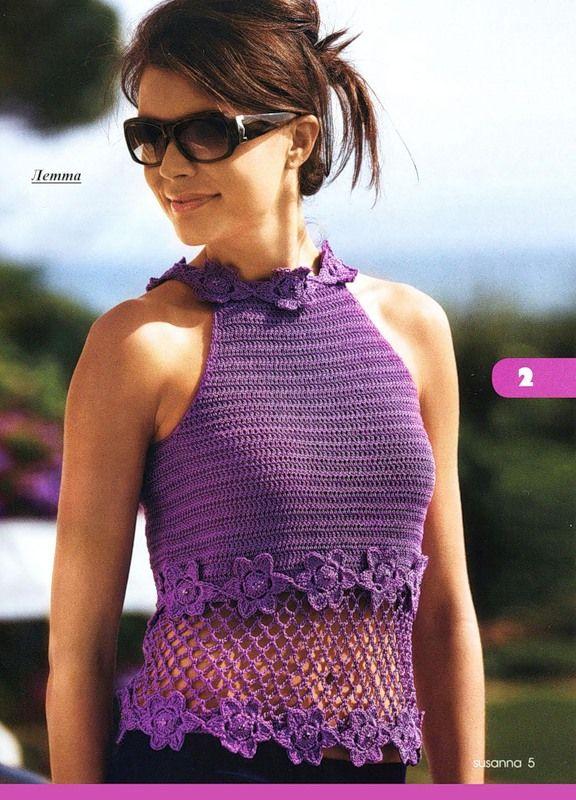 Purple bouquets: Crochet fashion top