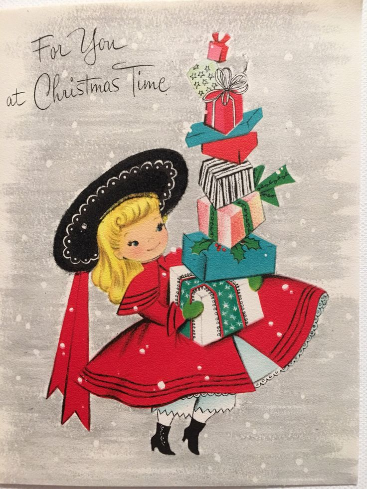 A personal favorite from my Etsy shop https://www.etsy.com/listing/490259859/vintage-christmas-card-little-girl