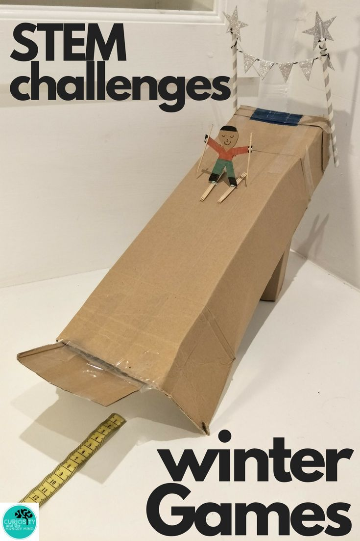 STEM Challenges for the WINTER GAMES. Winter Sports - Ski Jump, Bobsled, Ice Hockey, Figure Skating and Winning Medal Challenges. Use cardboard and common materials to complete these activities.  #wintergames #stemchallenges #olympics #STEM #challenges #winter #sports #skiing #tpt #teacherspayteachers
