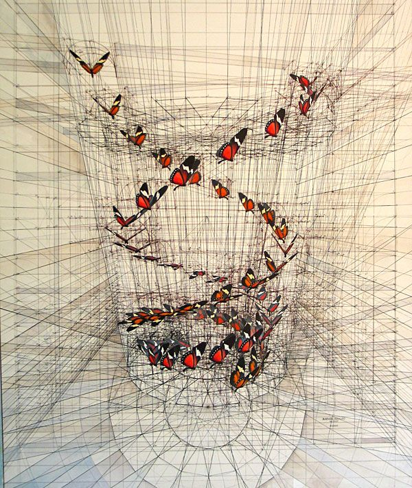Armed with a drawing table, compass, & protractor, Rafael Araujo draws mathematically complex three dimensional fields with gentle swirls of nature. Butter