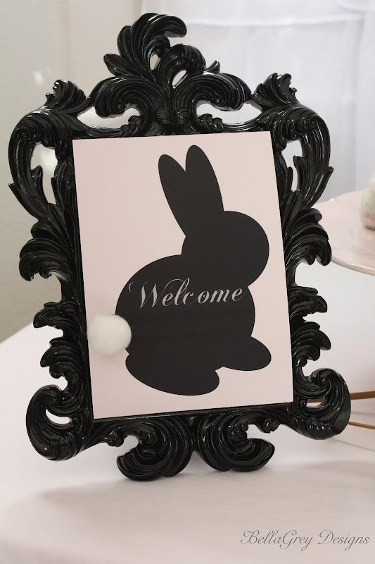 Silhouette Bunny Welcome sign
