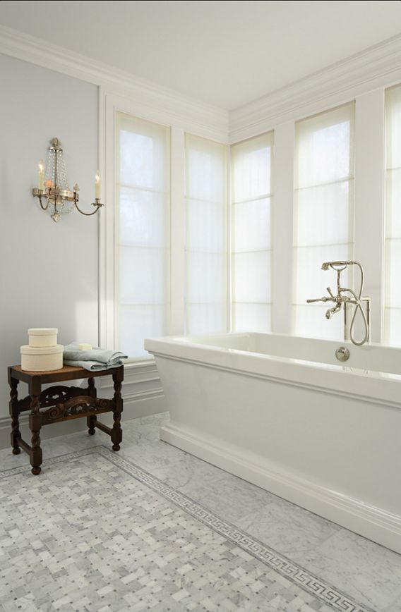 """Horizon"" (gray paint) by Benjamin Moore.  Like the marble tile flooring"