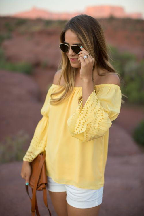 Off-the-shoulder tops are fun and totally on trend. Accessorize it with a long necklace and your favorite oversized sunnies.