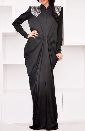 Sara Elemary fierce abaya. Love the draping and the studded shoulders