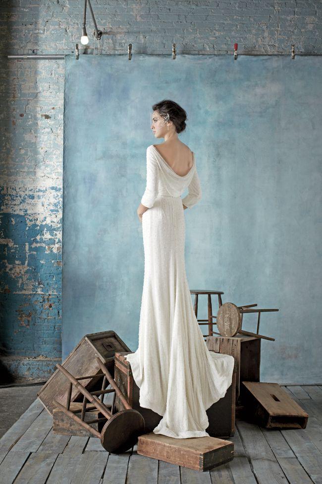 Dress by Dennis Basso for Kleinfeld. Modest long sleeve wedding