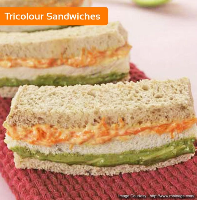 Tricolored and tri-layered sandwiches by Chef Sanjeev Kapoor! For Recipe click here :- http://wonderchef.in/blog/?cat=320