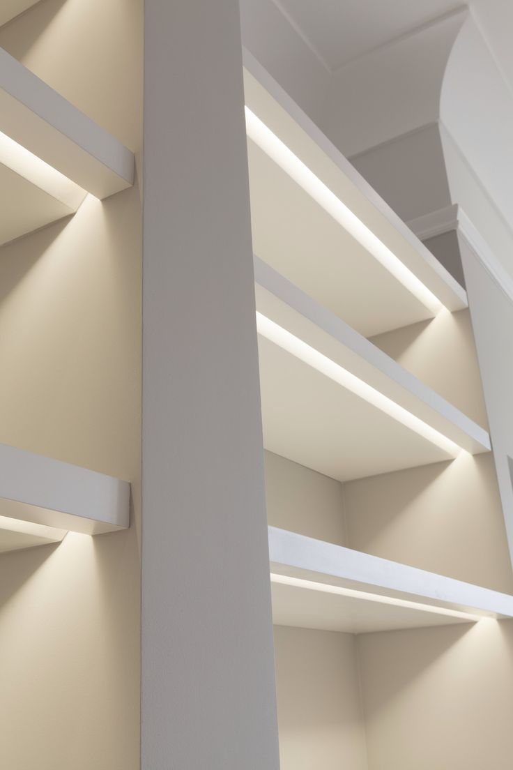 Shelves lit with recessed LED strip lights, great for walk in robes WIR  lighting. or decorative shelf lighting