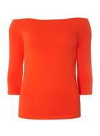 Womens Red Bardot Top- Red
