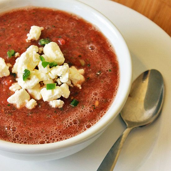 Spicy watermelon gazpacho that's perfect for warm weather!