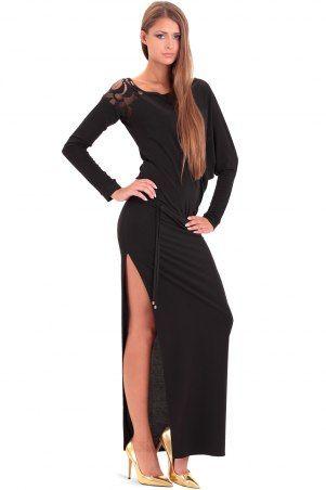 Długa sukienka czarna z wstawką z #koronki