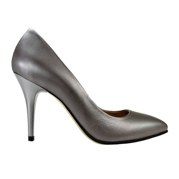 Pantofi stiletto din piele gri nappa
