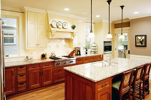 kitchens with different color upper and lower cabinets - Google Search