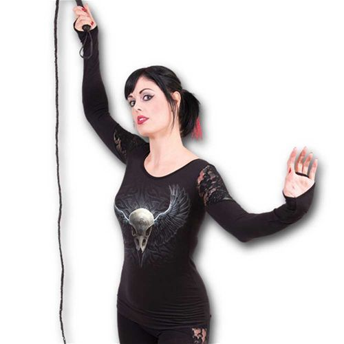 Raven Cage, gothic fantasy metal dames shirt met lange mouwen en kanten schouder detail zwart - XXL - Spiral Direct