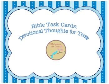 This download contains 50 devotional thoughts for teens. Each page contains two separate devotionals. The devotionals contain scripture, thoughts, and reflection questions.These task cards would be a great way to start class, an exit ticket, guide for a devotional thought with students, or you could print and make books for your students.See the preview for a list of topics covered.