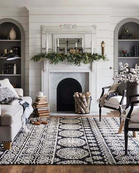 Cozy Transitional Fall To Winter Living Room Styling With Fireplace Mantel Greenery Birchwood