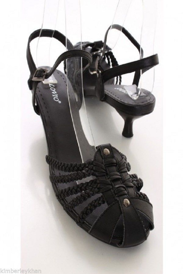 Black Braided Strappy slingback high heel Sandals 2