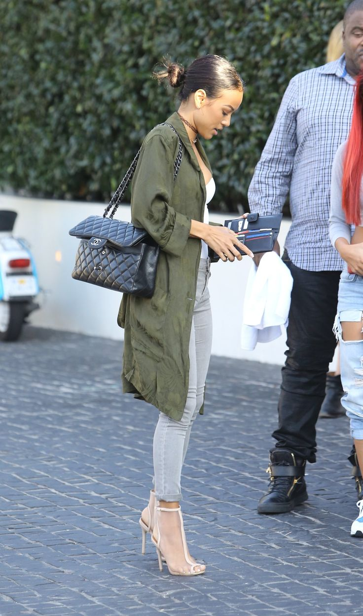 Olive oversize military jacket + grey // chic casual  // street style
