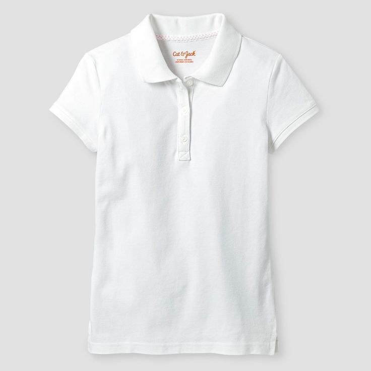 Girls' Pique Stain Resist Polo Shirt Cat & Jack - White XL, Girl's