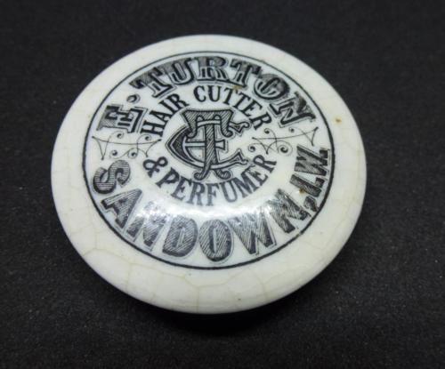 TURTON-Sandown-Isle-of-Wight-button-POT-LID-bottle-jar-perfume-hair-cutter-IOW