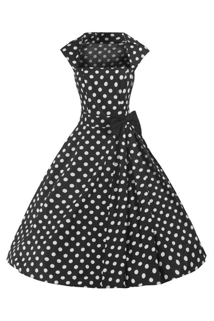 Black and White 50s Polka Dot Swing Bow Dress