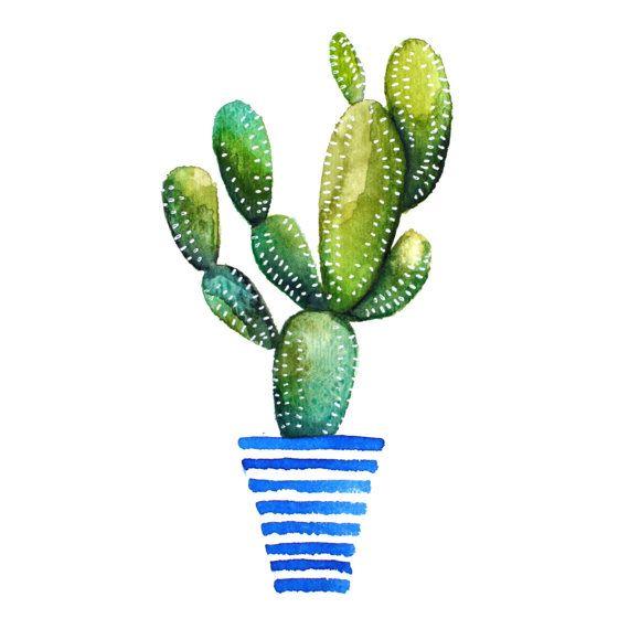 Druck von original Aquarell von ein Kaktus von KristineBrookshire auf Etsy