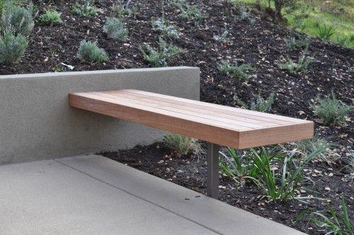 Hardwood Bench And Retaining Wall Seating Metal