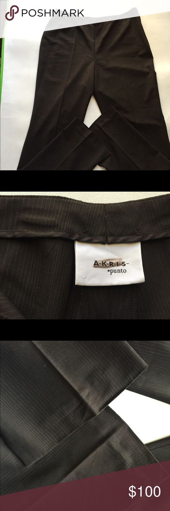 AKRIS PUNTO HIGH END WOMENS SZ 12 BROWN SLACKS •EXCELLENT CONDITION • •note     ONE HEM STITCHING CAME LOOSE OTHERWISE NO ISSUES • •AKRIS PUNTO • •SIZE 12 • •BROWN WITH WHITE STRIPES • •SLACKS • •SIDE HIDDEN ZIPPER • •HEMS HAS SLITS FOR A BETTER FIT FOR ANY TYPE OF SHOES Pants Trousers