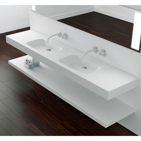 Plan vasque suspendu, double vasques, matériau Scene 'CODE 2S'  Hidrobox by Absara
