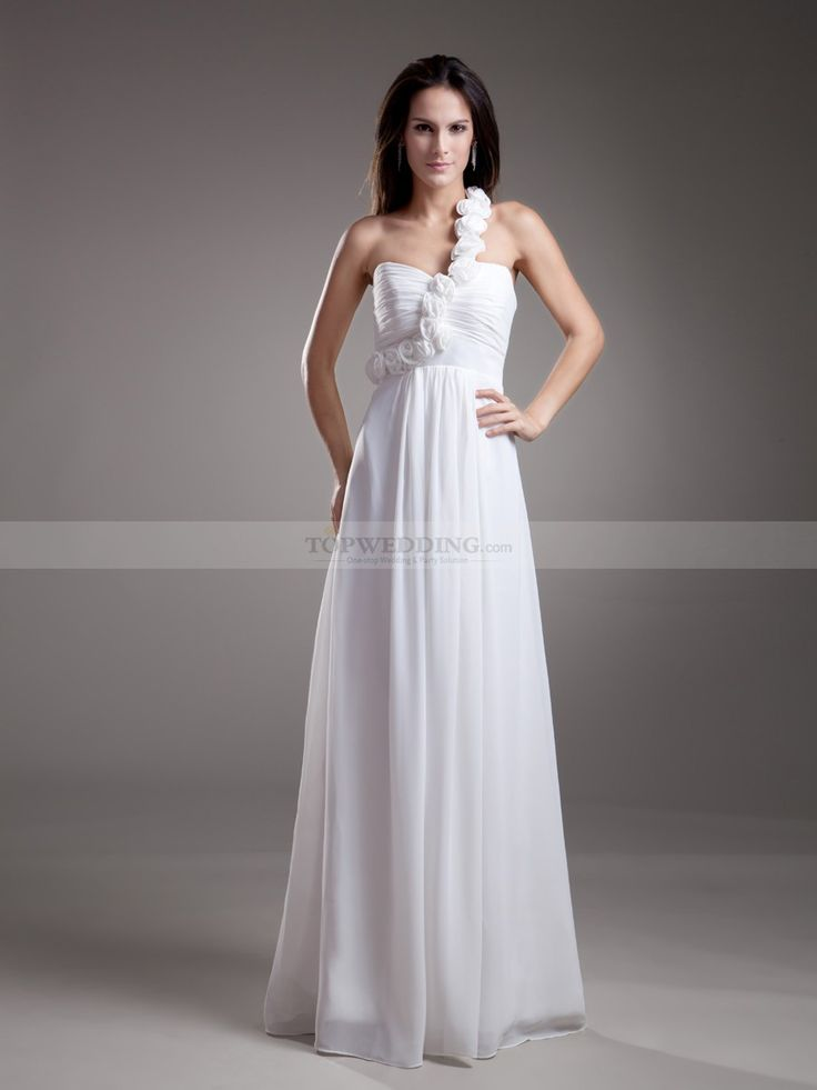 Rosette One Shoulder Full Length Chiffon Empire Bridesmaid Dress