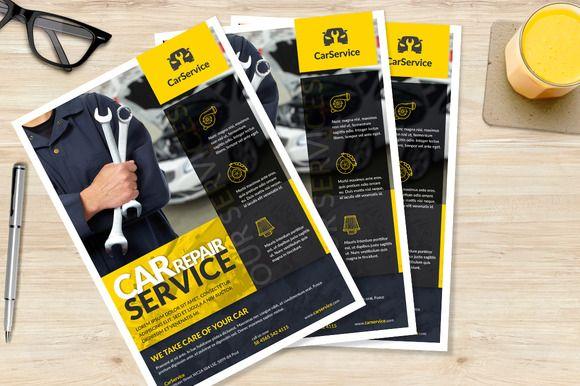 Car mechanic A4 Flyer by buttonpl on @creativemarket