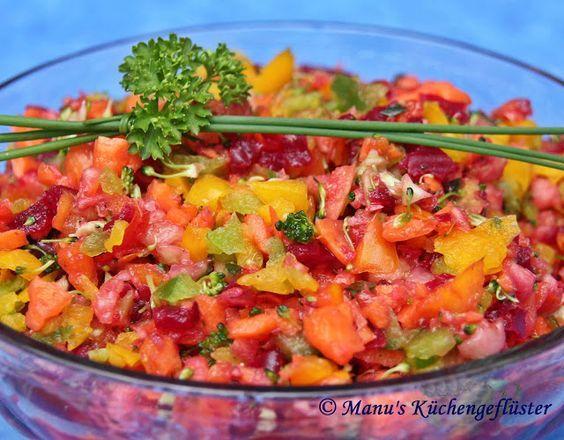 Diesen erfrischenden und leckeren Salat haben wir auf einem unserer Kochtreffs gemacht und seitdem gehört er zu meinen Standarts.       1 kl...
