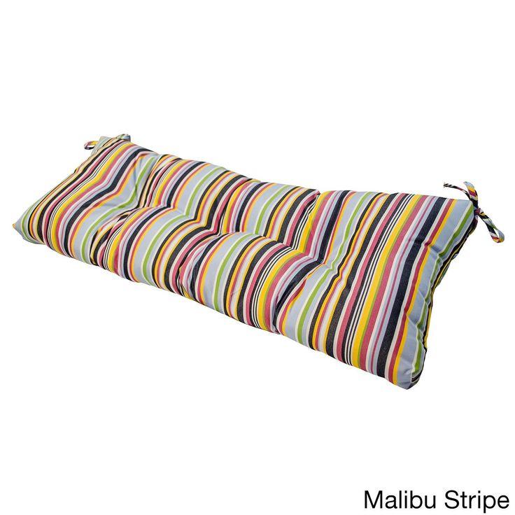 Sunbrella Outdoor Swing/ Bench Cushion (Malibu Stripe), Pink (Acrylic), Outdoor Cushion