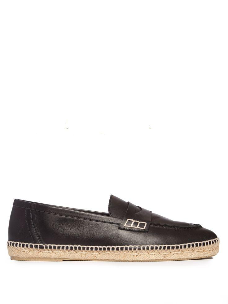 Foldable-heel leather espadrille loafers | Loewe