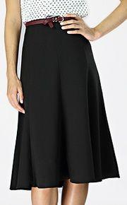 Christine skirt - black flared, lightweight midi-length skirt.