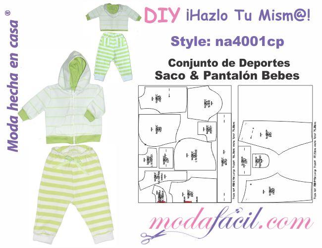 Descarga Gratis los Moldes de Conjunto de Deportes de Saco y Pantalón para Bebes  disponibles en 12 tallas Listos para Cortar