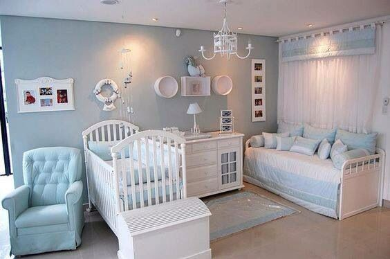 Beautiful baby blue and white classic and elegant boy nusery