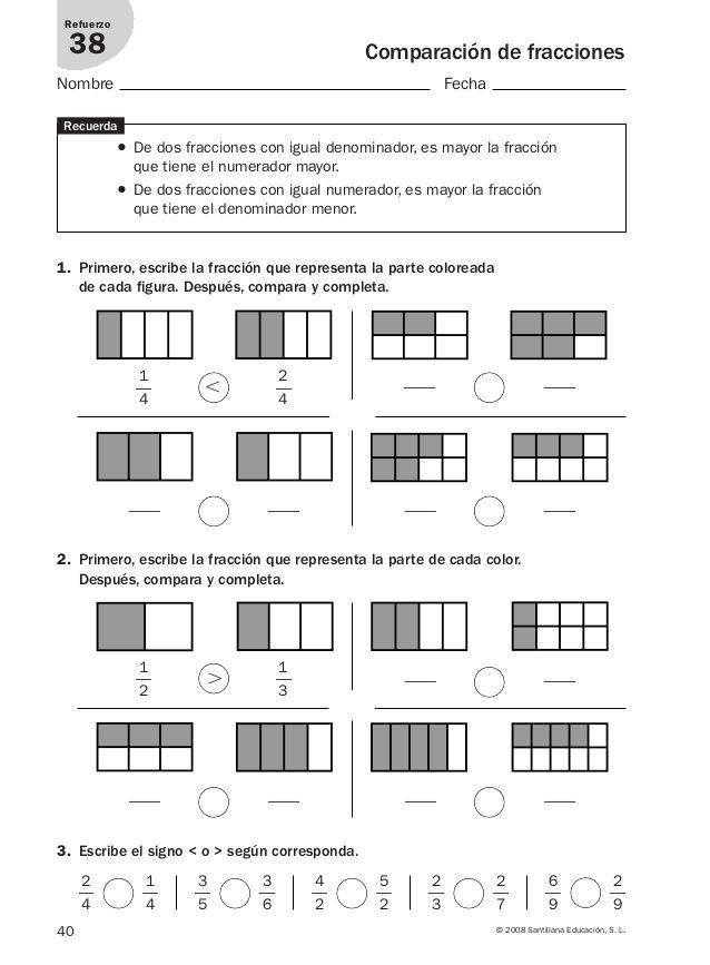 ejercicios de fracciones equivalentes para cuarto grado pdf