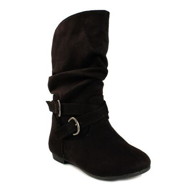 Payless Shoes, Girls Addie Jnr Black Micro Suede Tall Slouch Boot by Smartfit
